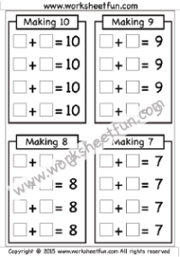 Making 7, 8, 9 & 10 – One Worksheet | First Grade Worksheets | Pinterest