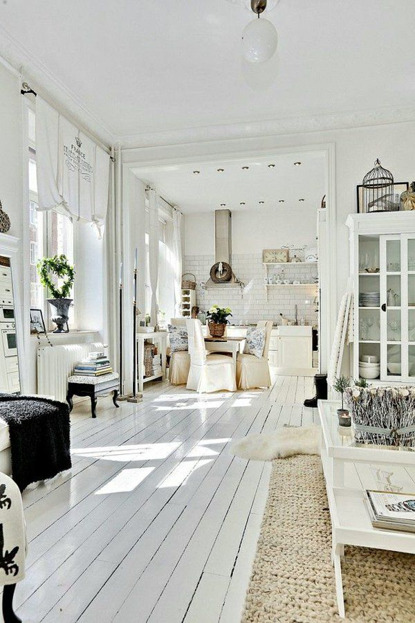 Wohnen Farbgestaltung scandinavian lifestyle holz platten weiß farbgestaltung wohnideen