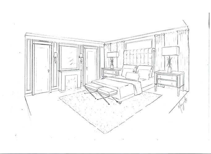 Dessin Chambre D Appoint Rdc Drawing Interior Interior Design Drawings Perspective Sketch