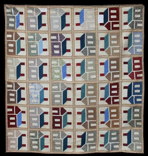 Schoolhouse Quilt - note the striped fabric used in the sashing. Unknown Quilt Maker. Circa 1880.