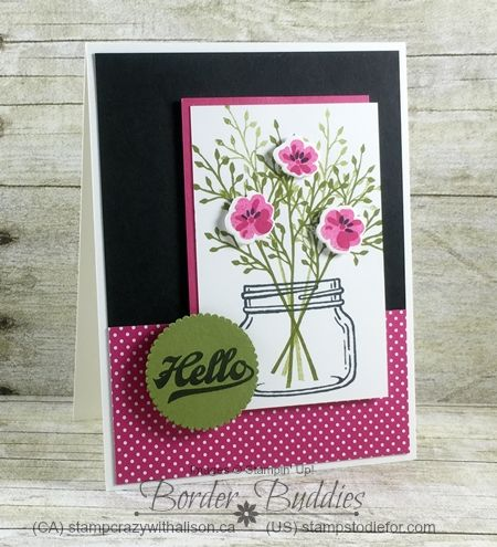 Jar of Love stamp set and Pop of Pink Paper by Stampin' Up! Border Buddies PDF Tutorial Card