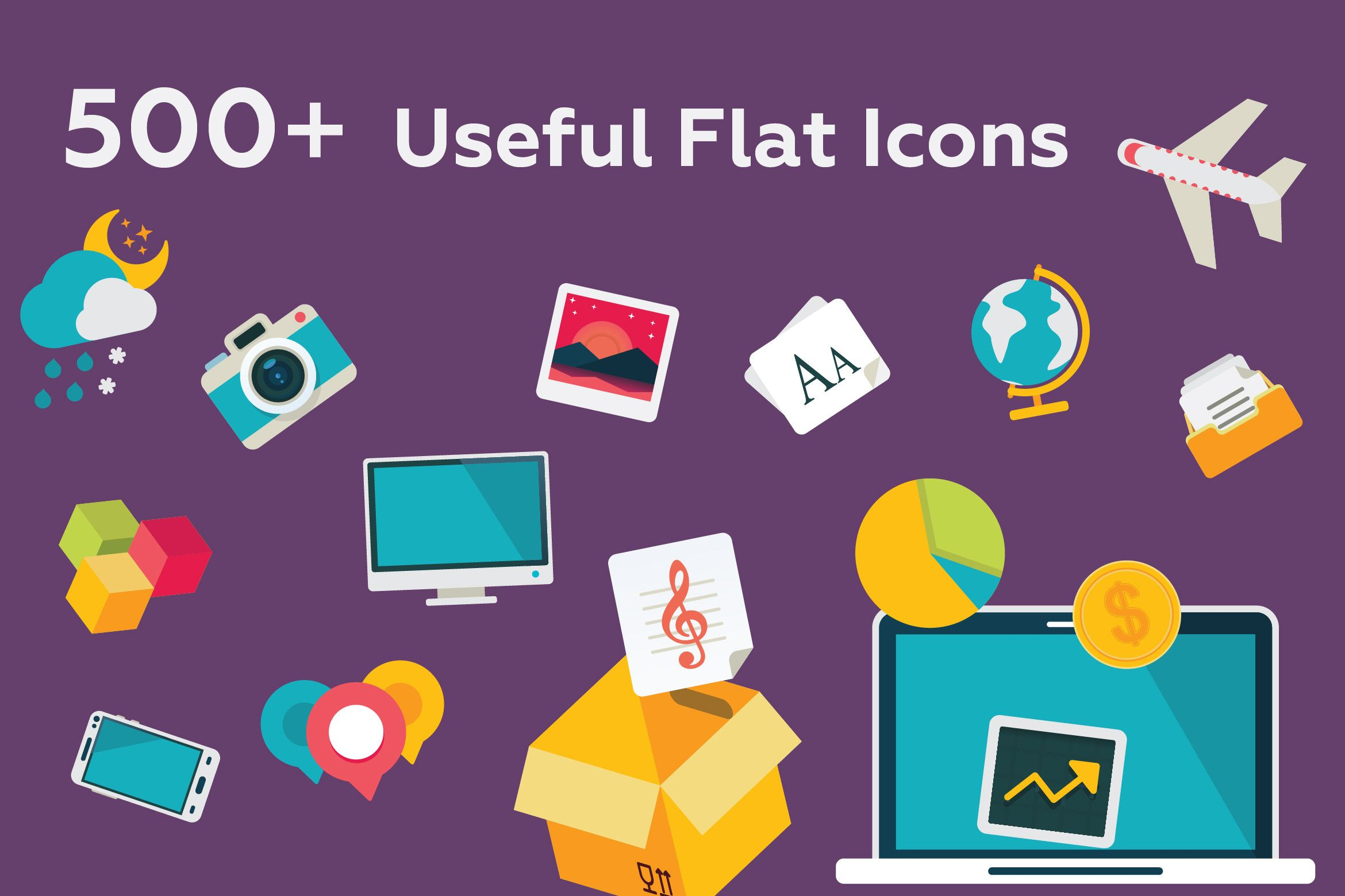 527 Useful Flat Icons by iconsoul on Creative icon