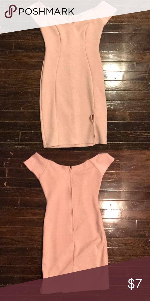 21895de829c7 Off Shoulder Light Pink Dress  soft material  has a slit  off the shoulder  light  pink  worn twice Charlotte Russe Dresses Mini