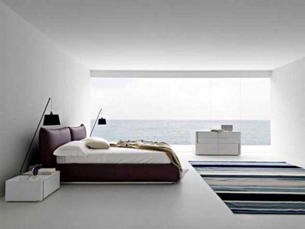 panoramablick meer minimalismus ideen für weißes schlafzimmer - minimalismus schlafzimmer in weis