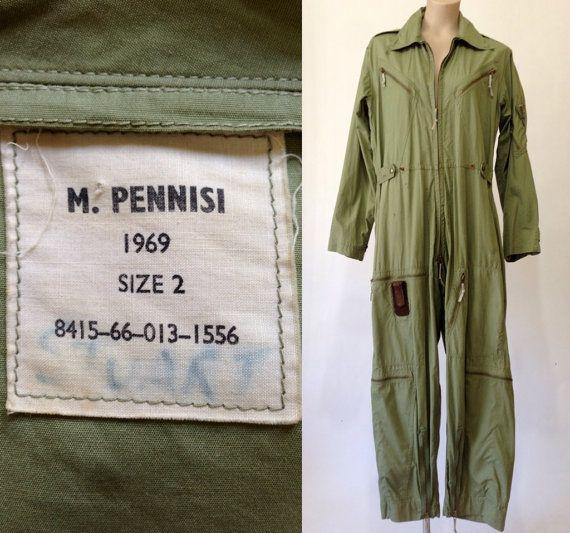 Onesie 60's Military Uniform Air Force Pilot Flight Suit Metal Zips Army Overalls Jumpsuit