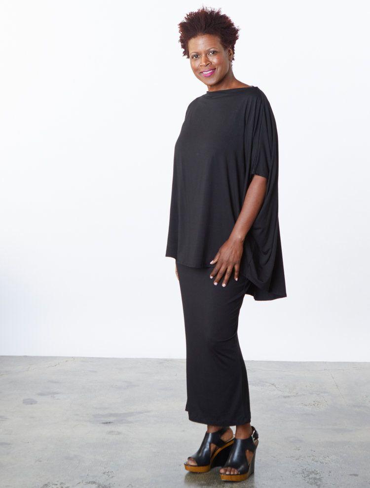 82bed960156 Debo Tunic, Slim Skirt in Black Italian Viscose Jersey | Bryn Walker ...