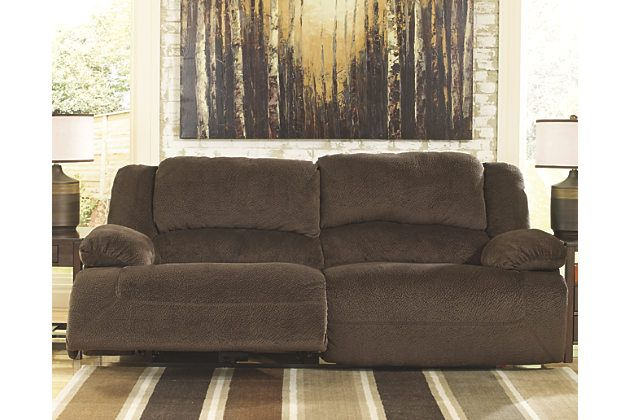 Ashley Furniture 96 Chocolate Toletta Reclining Sofa Fabric
