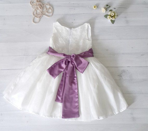 536bddc76 Satin and lace flower girl s dress