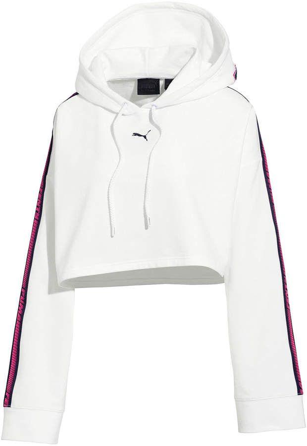 d49c68c4e623 FENTY PUMA by Rihanna Hooded Cropped Sweatshirt w  Racer Stripe ...