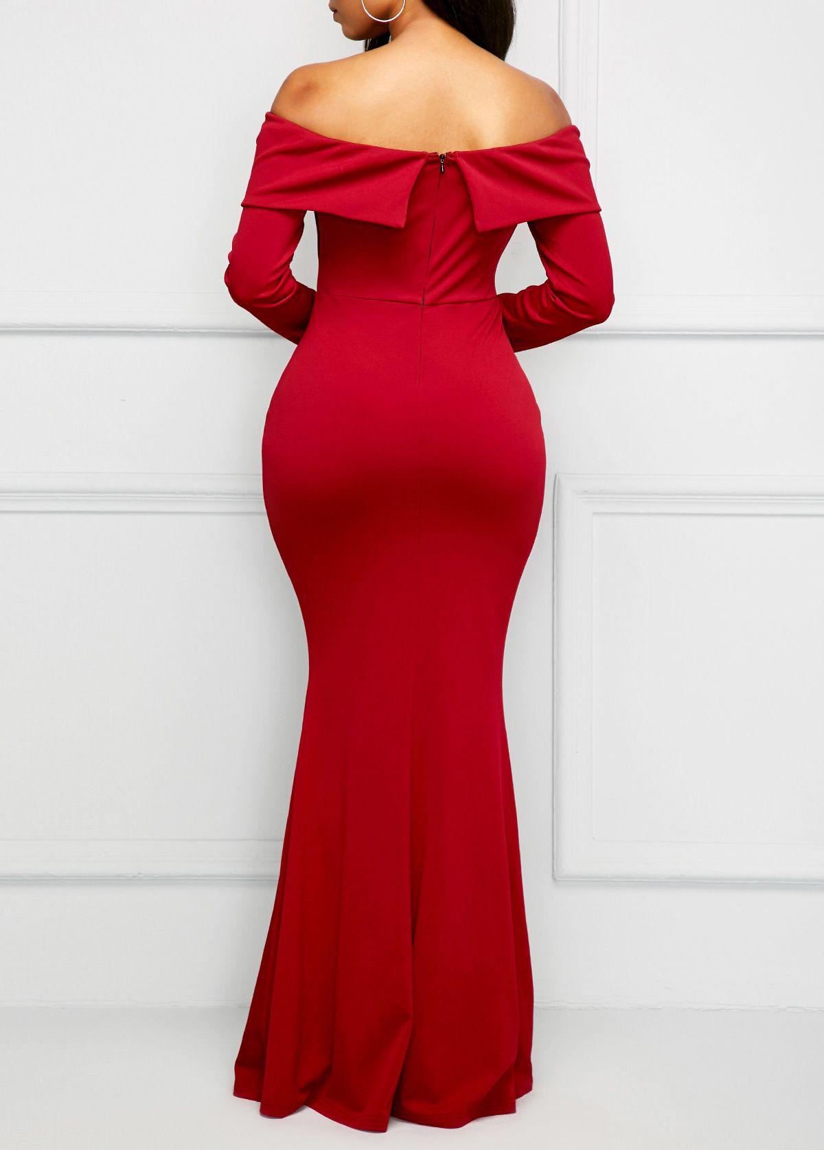 Long sleeve wine red bardot maxi dress usd