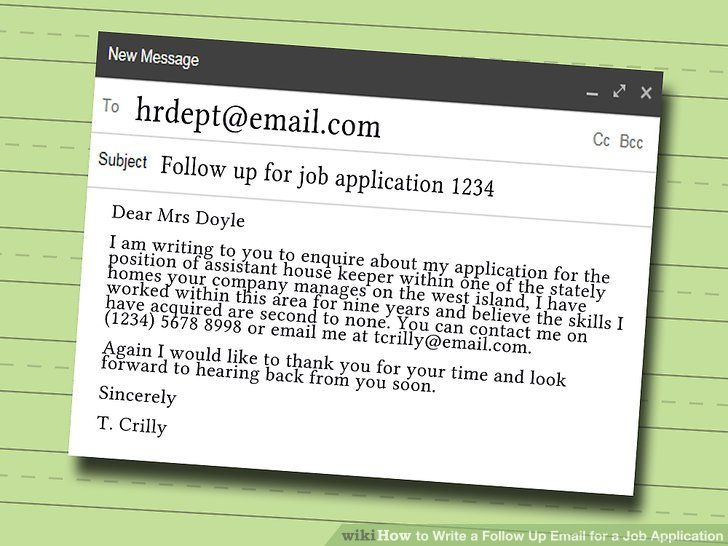 How To Write A Follow Up Email For A Job Application 9 Steps - follow up resume email sample