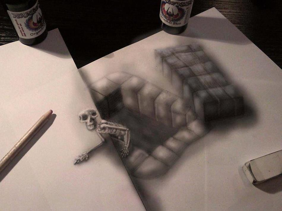 3d pencil drawings illusions | More amazing 3-D illusion