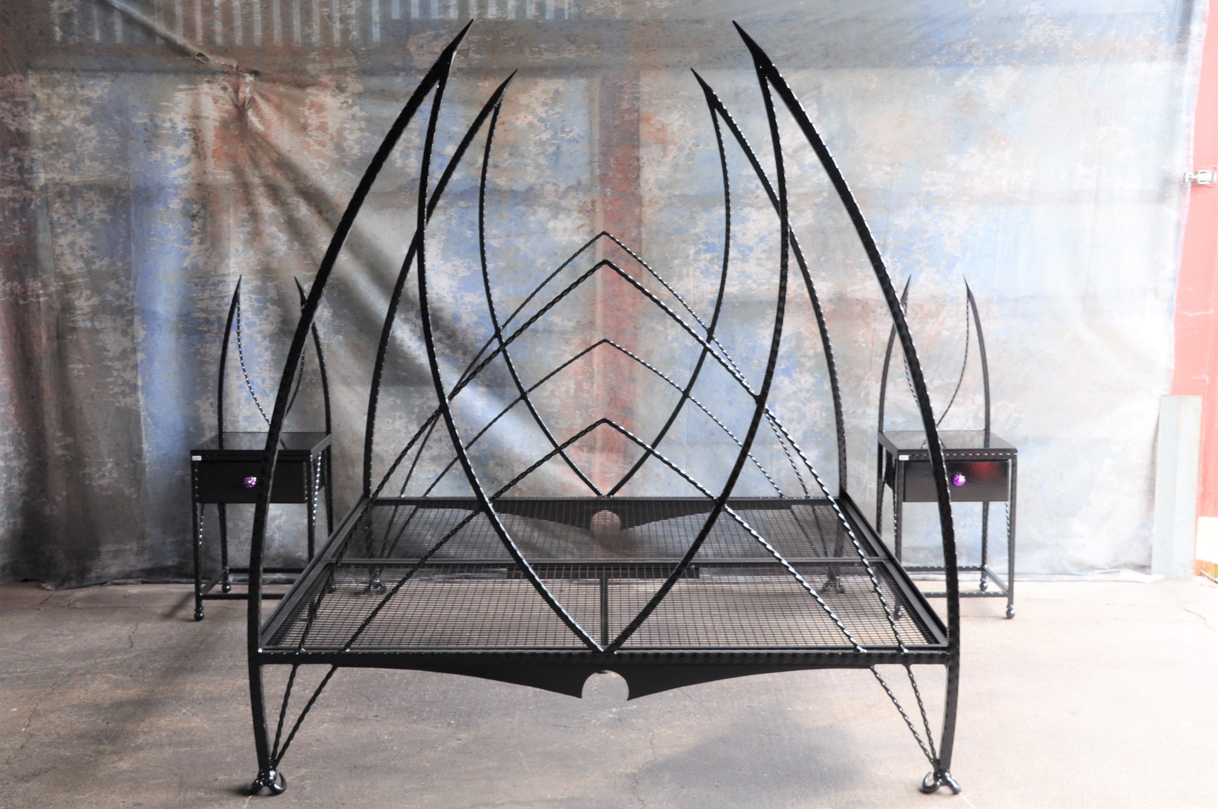 Demon Wrought Iron Bed With Matching Bedside Tables By Spw