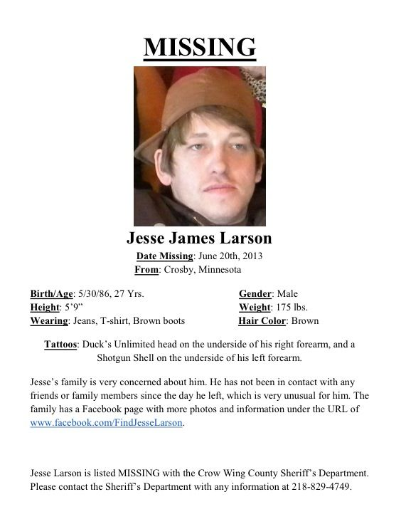 MISSING PERSON Jesse Larson- Please read and pass along - missing person picture