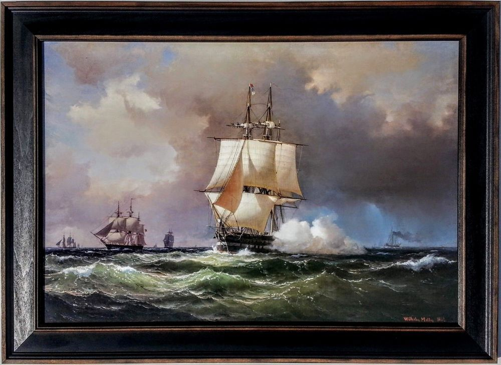 35x26 Vintage Canvas 1852 Square Riggers By Wilhelm Melby Clipper Ship Painting Canvas Art Prints Canvas Art Painting Canvas Art