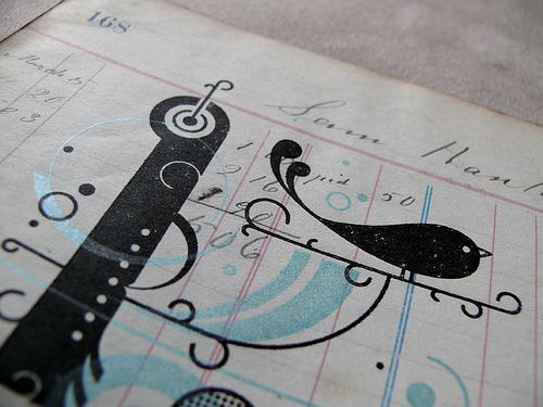Antique Blue Bird Gocco Print