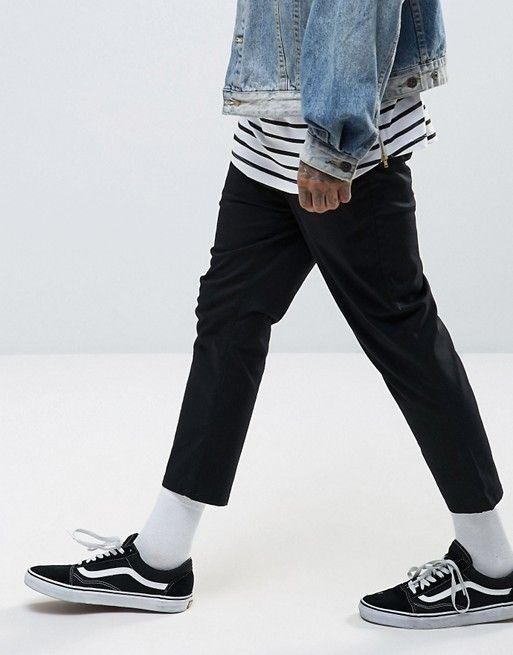 abfa81ad2454e9 DESIGN skinny super cropped chinos in black in 2019 | Streetwear ...