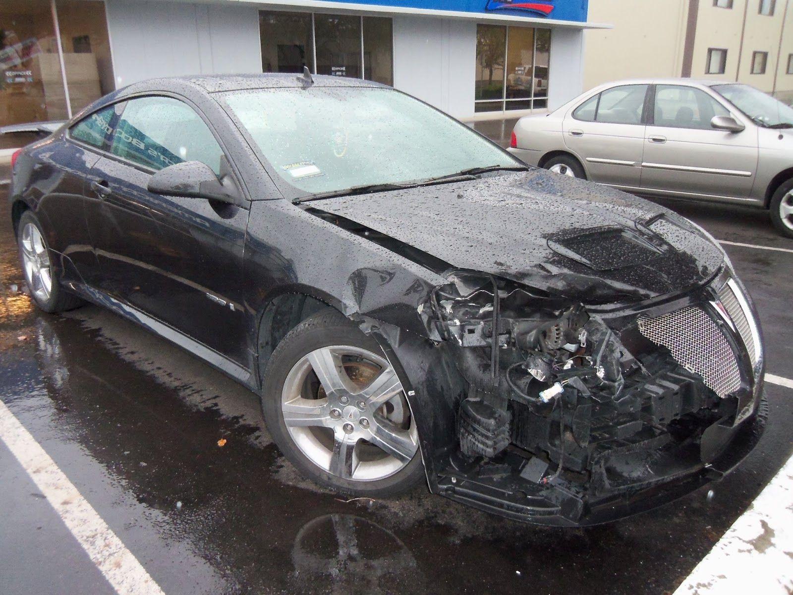 Bad Auto Accident Fender Hood Bumper Grill Damaged Car Collision Repair Auto Body Work