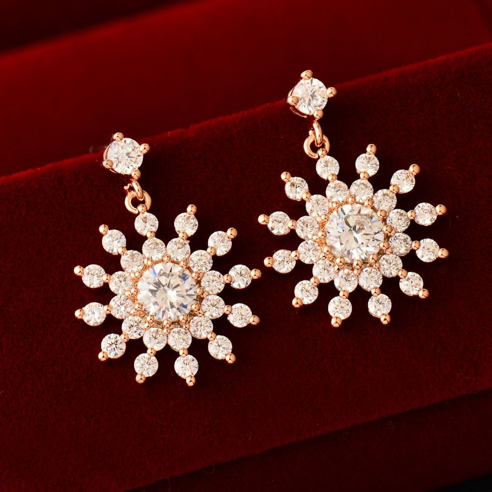 Find More Stud Earrings Information about  Gorgeous Crystal Snowflake Flower Stud Earring With Cubic Zircon Women Rose Gold Plated Jewelry Birthday Gift Bijouterie ES020,High Quality earrings business,China earring connector Suppliers, Cheap earrings articles from SINKEE JEWELRY Store on Aliexpress.com