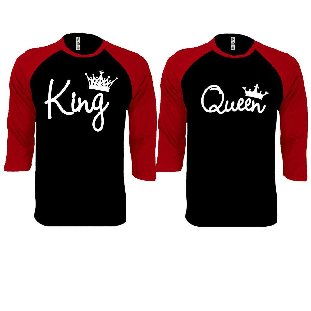 74b92b2b86ad03 King and Queen Write Couple Black   Red Baseball T-shirt