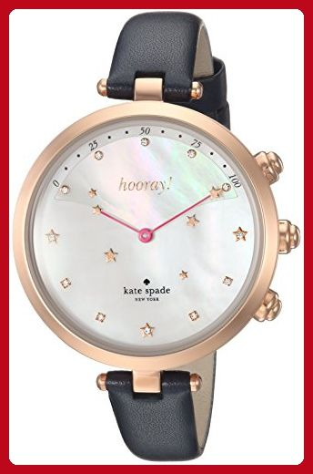 9c40375a1f2 Kate Spade New York Women s  Holland Slim Hybrid  Quartz Stainless Steel  and Leather Casual Watch