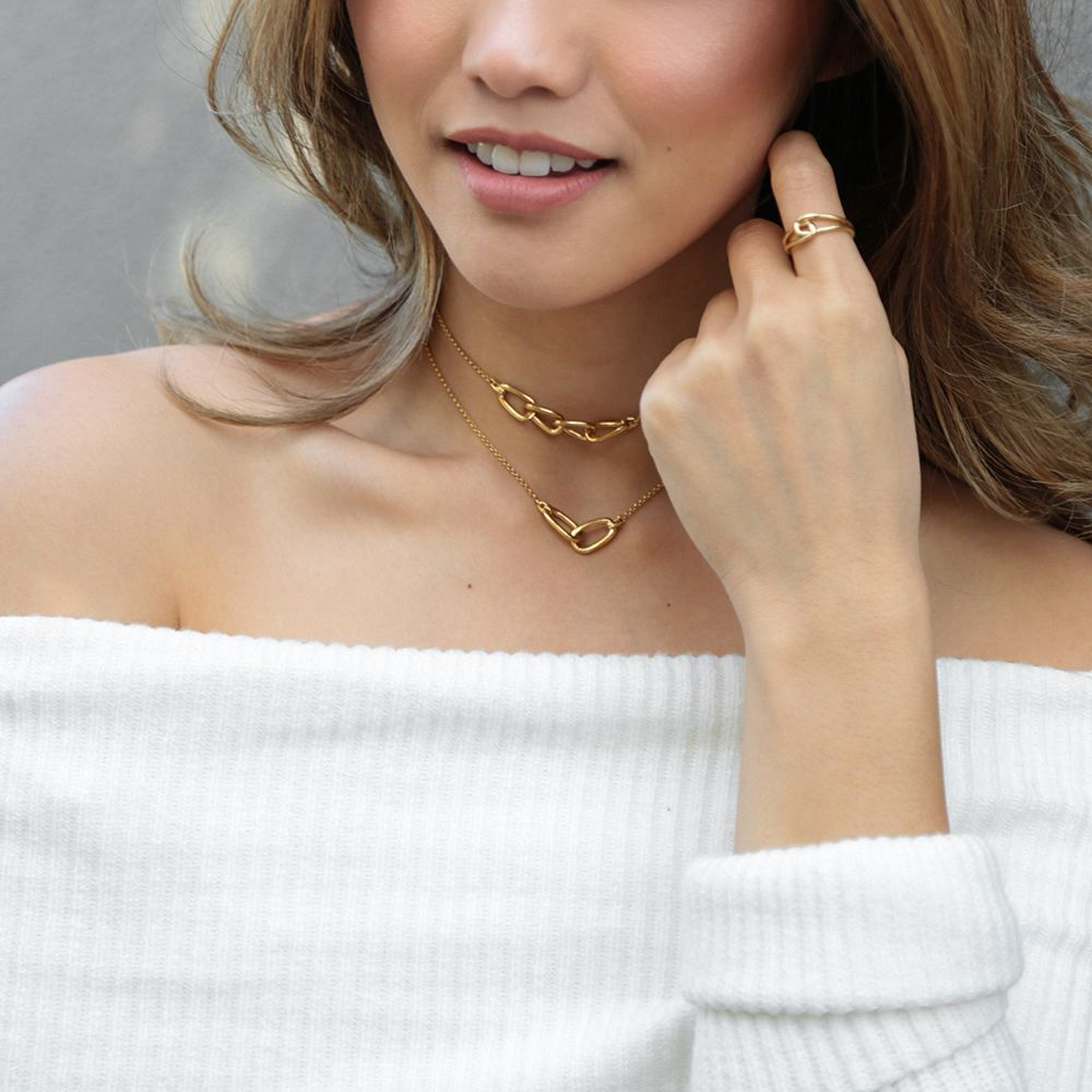 Links choker, necklace and ring in gold vermeil by Mejuri x Jenn Im. Everyday fine jewelry.