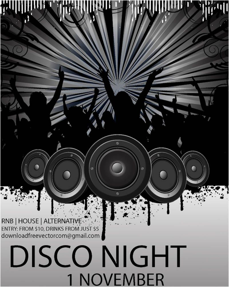 Disco Flyer Template Vector Vector Template Of A Disco Flyer With