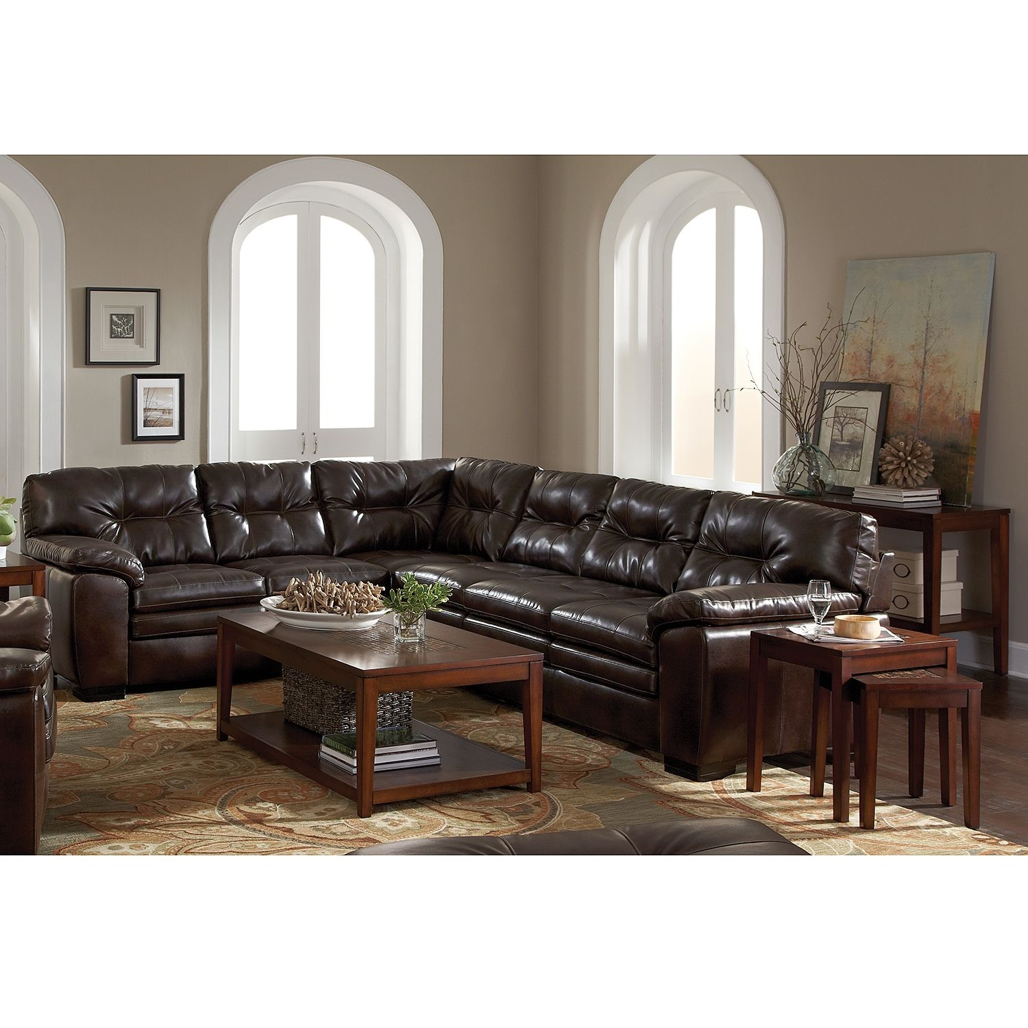 Living Room Furniture Legend Brown Ii 2 Pc Sectional With