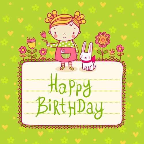 Cute child with rabbit birthday card vector birthday – Birthday Card for Child