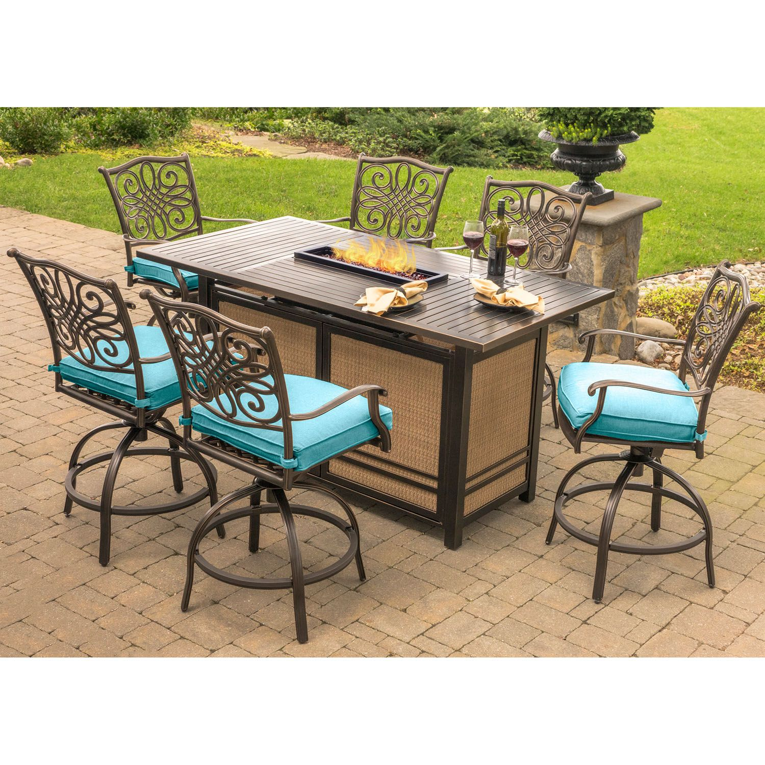 Phenomenal Hanover Traditions 7 Piece High Dining Set In Blue With Home Interior And Landscaping Spoatsignezvosmurscom