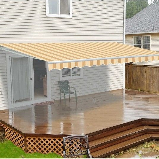 12 Ft W X 10 Ft D Fabric Retractable Standard Patio Awning Pergola Patio Pergola Patio