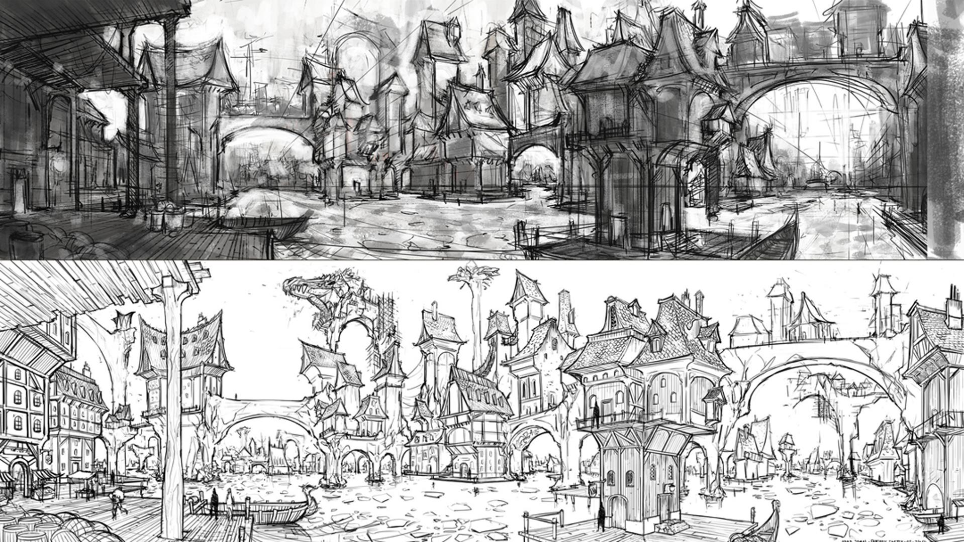 I was inspired by the Water Town in #TheHobbit film. I decided to sketch a Fantasy Village of my own.  .  .  .  .  .  .  #instasketch #quicksketch #drawingsketch #sketchdaily #watertown #fantasyartwork #designsketch #sketchingart #illustrationsketch #adobesketch #artsketch #dailysketches #sketchingdaily #pencilsketching #fantasysketch #artfantasy #fantasyartists #sketchin #messysketch #archsketch #sketchinstadaily #sketchartgallery #architecturalsketch #dailysketchbook #quicksketching #citysketc