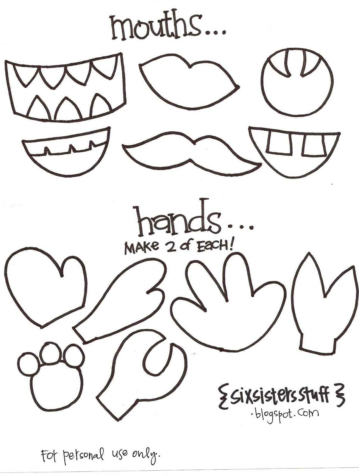 Kindergarten printable hat templates paper bag puppets for Mosnter template