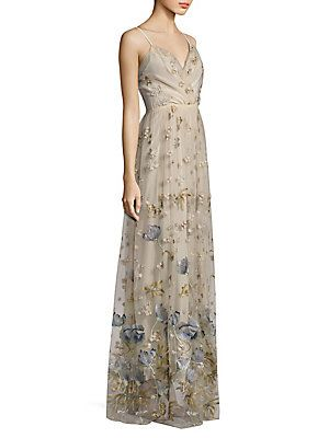 818ffc45be4 Elie Tahari Selma Metallic Embroidered Gown