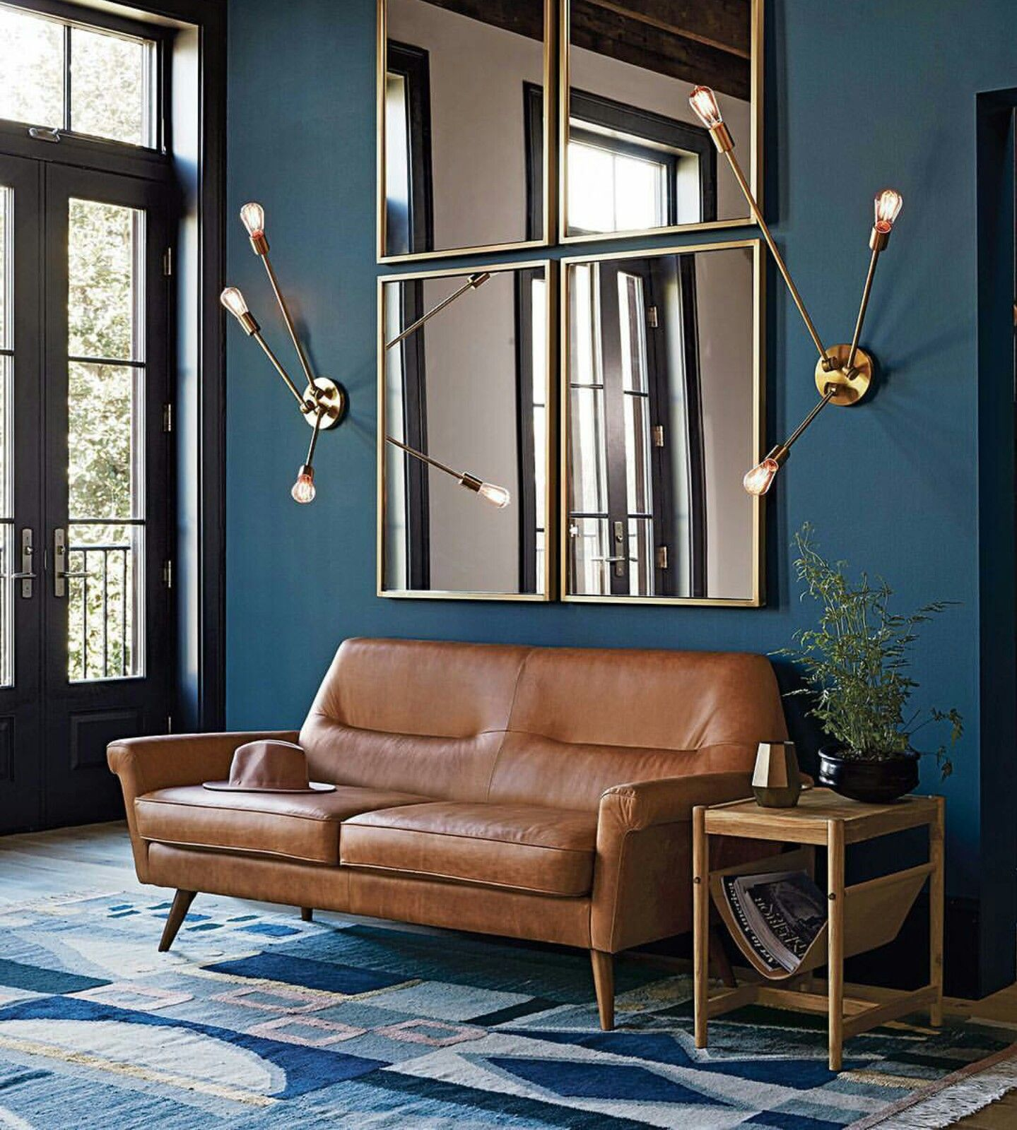 Imagine the Bryant Leather sofa against this Deep blue wall