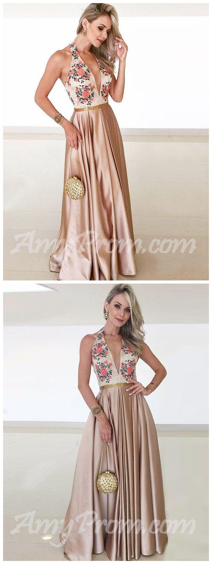 Elegant aline prom dresses halter floral cheap prom dressevening