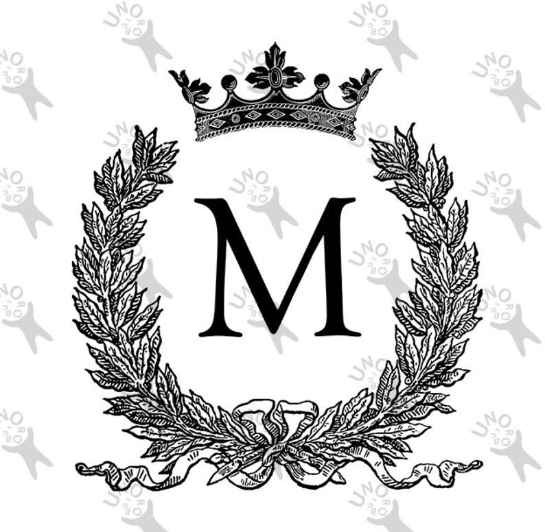 Vintage Monogram Initial Letter M Crown Instant Download