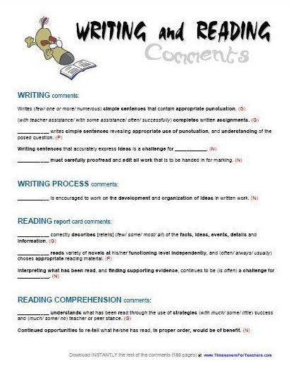 Report Card Comments - Reading & Writing | Report card ...