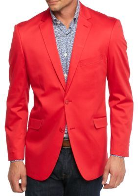 Madison Men's Big & Tall Red Solid Motion Stretch Sport Coat - Red ...