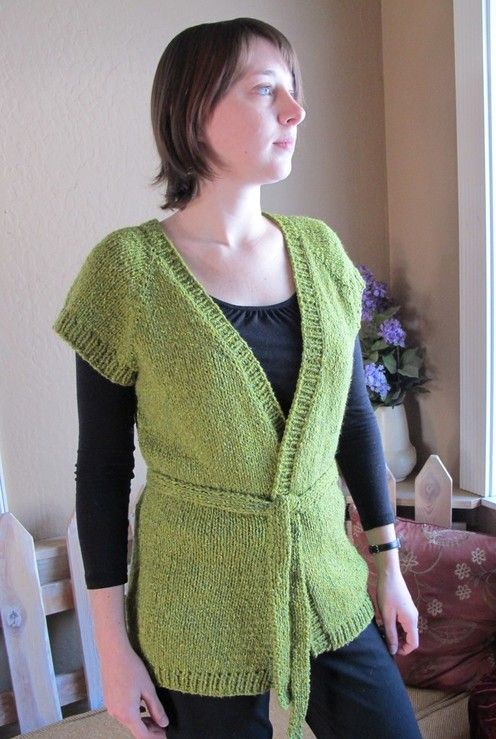 Knitting Pure And Simple Diane Soucy Cap Sleeve Wrap Cardigan Vest