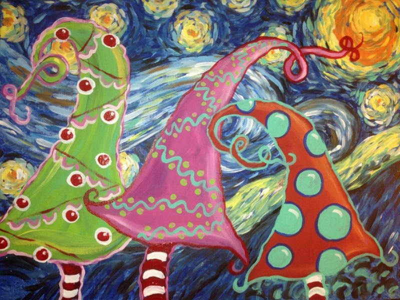 Van Gogh's Starry Night Meets Dr. Seuss Whimsical Trees