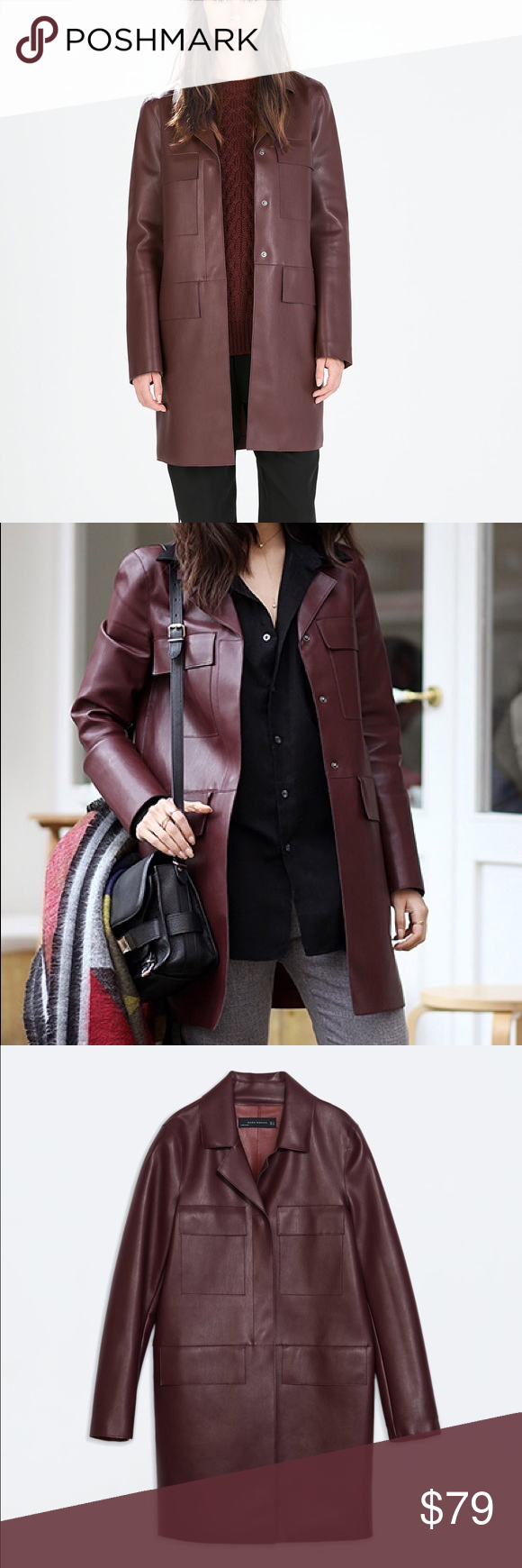 Zara faux leather coat size small Straight polished