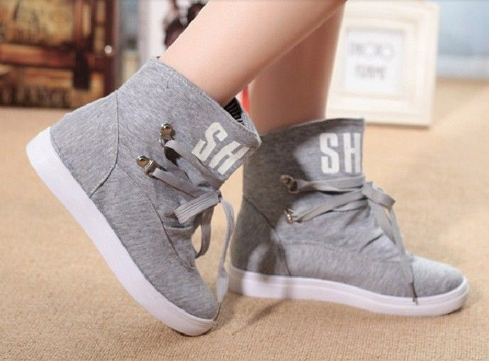 2014 fashion women ankle boots canvas shoes sneakers sports skate ...