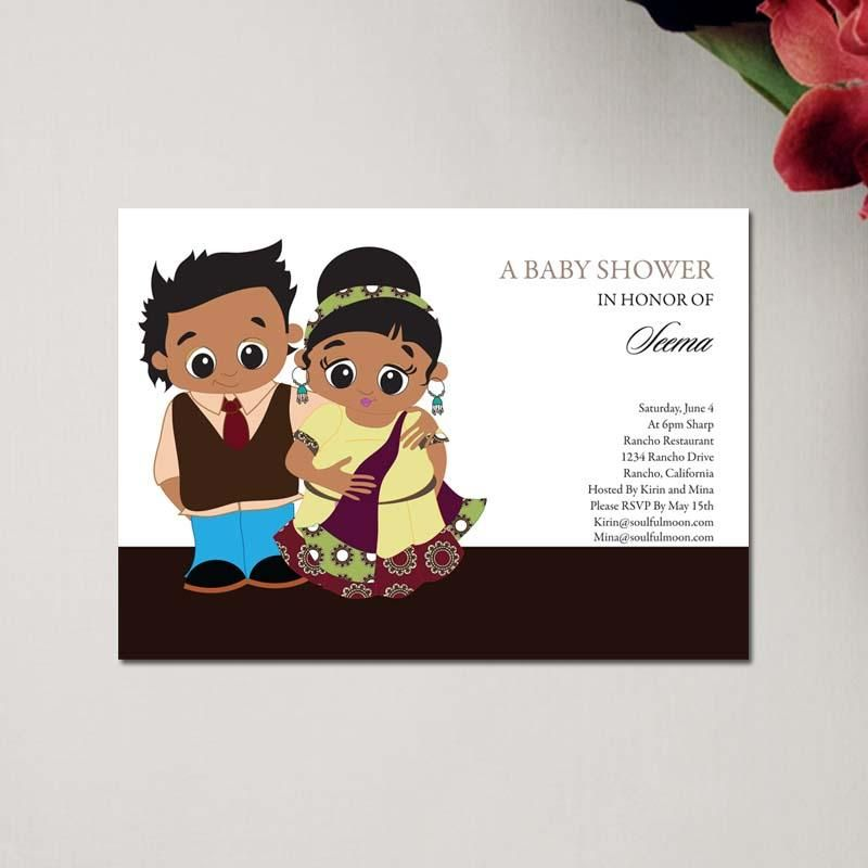 Indian baby shower Indian Baby Shower Invitations Bubbly Couple