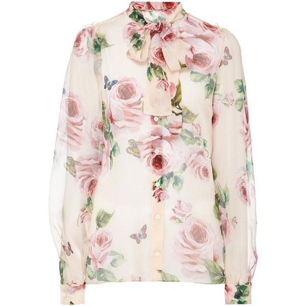 6073c934c88137 DOLCE GABBANA Rose Print Silk Blouse ❤ liked on Polyvore featuring tops