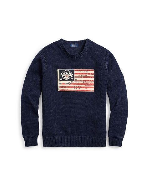 09e60060b141 Flag-Patch Cotton Sweater - Polo Ralph Lauren Crewneck - RalphLauren ...