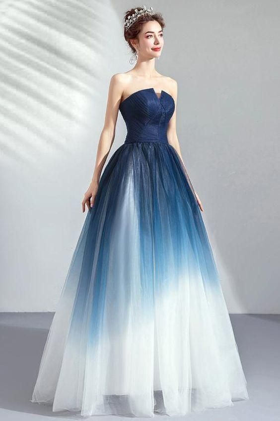 Prom Dresses Simple, New Navy Blue Ombre Tulle Strapless Long Prom Dress Formal Evening Grad Gown Dresses Simplicity Dress -   16 gawon dress Beautiful ideas