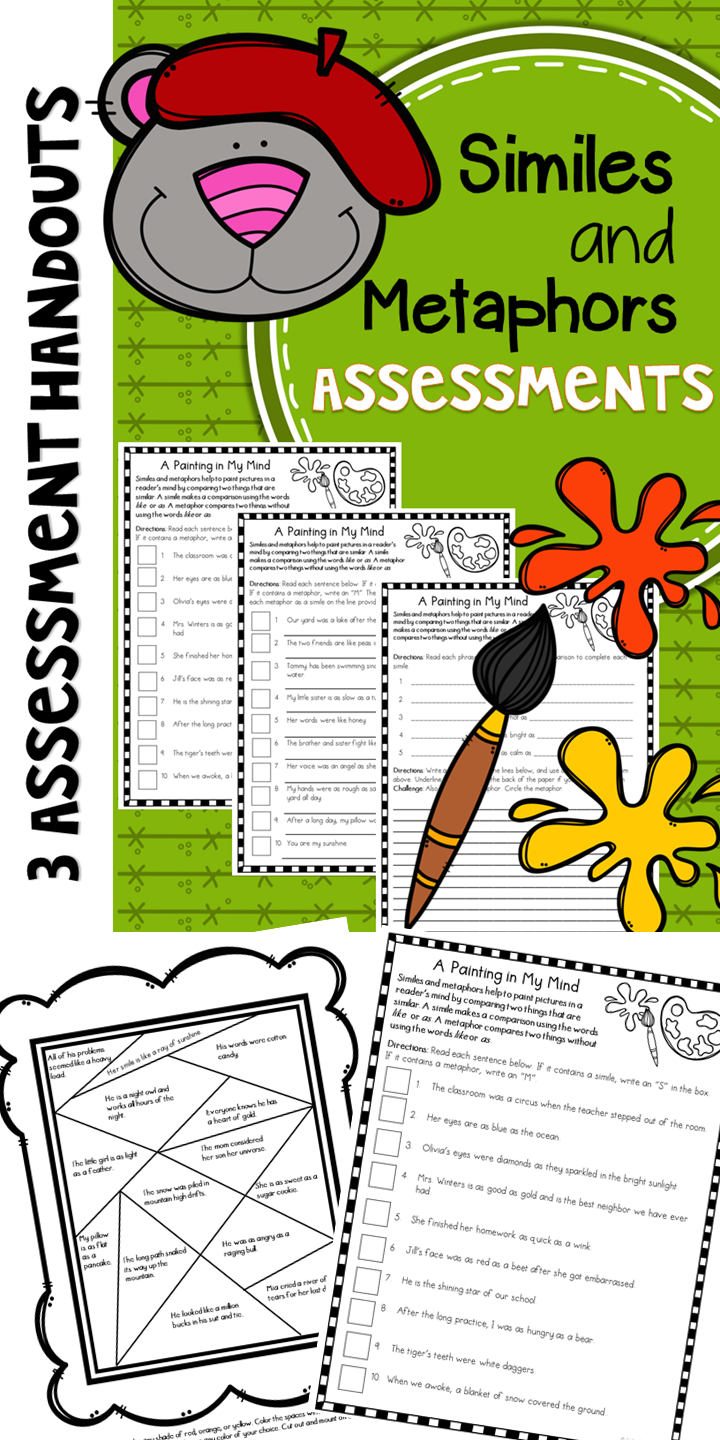 Similes and Metaphors Assessments and Worksheets Similes