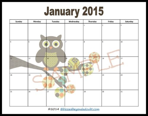 Free 2015 Monthly Printable Calendar Printable Calendars Calendar