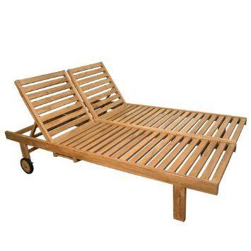 Amazon Balero Teak Wood Double Chaise Lounge Chair Patio Lawn